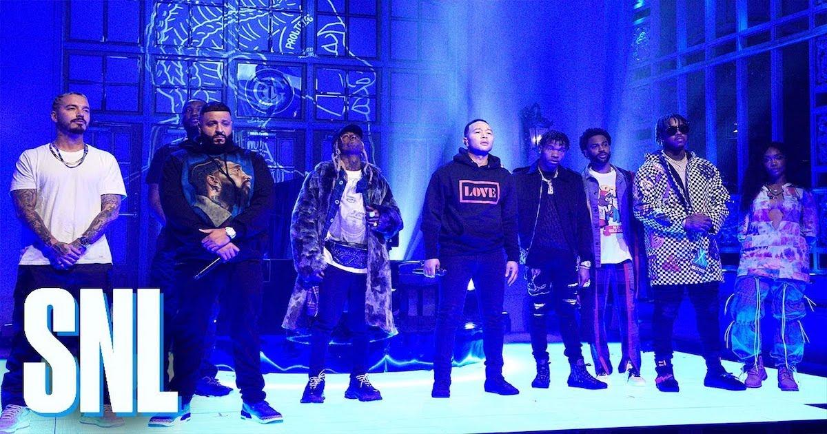 DJ KhaledがLil Wayne, John Legendなどと共にSNLに出演。  Nipsey Hussleへのトリビュートとして  「Higher」も披露。