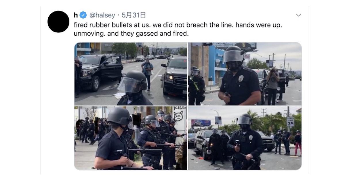 ホールジーがプロテストにて警察からゴム弾を撃たれ軽症を負う。「違反をせずにみんな手をあげていた」