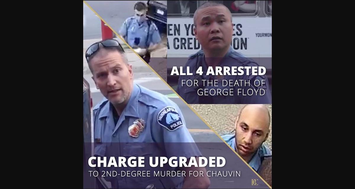 ジョージ・フロイド氏を殺害した元警察官が第二級殺人に変更。関わった4人全員が起訴される。